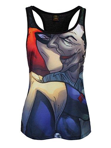 Batman - Canottiera da donna con motivo Joker Kiss - Licenza ufficiale DC Comics - Stampa frontale Joker Smile - Nero - L