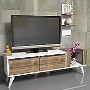 هوم مانيا طاولة تلفاز مع ارفف حائط خشبية - متعدد الالوان