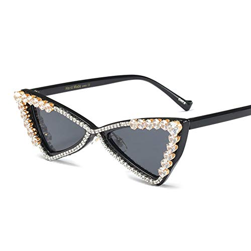 Z&HA Katzenauge Sonnenbrille Crystal verschönert Gläser dreieckige Resin-Rahmen Schwarze Ton-Brillen,Brightblack