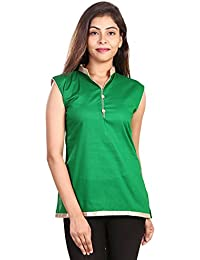 Fashion Store Women's Hand Embroidered Chicken Work Cotton Cambric Kurti (Green , X-Large)