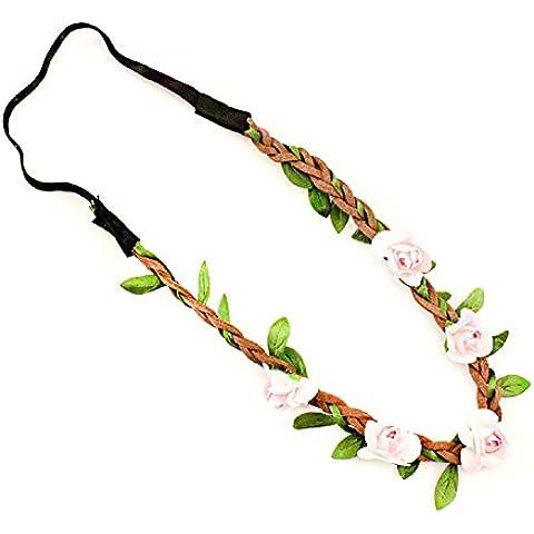 TININNA Fascia per Capelli,Boho Stile Fiori Fascia del Fiore per le Ragazze / Fasce di Nozze Neonate Festival del Partito-rosa