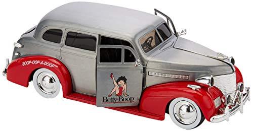 Dickie Toys 253745012 1939 Chevy Master Deluxe Wave 4 - Vehículo Die-Cast, con Rueda Libre, Jada Toys 20 años de Aniversario, Plateado y Metalizado Cepillado