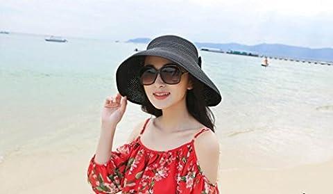 LQABW Summer Sun Hat Tourisme Plage Essential Bow Fold Vide Top Cap Chapeau De Paille,Black