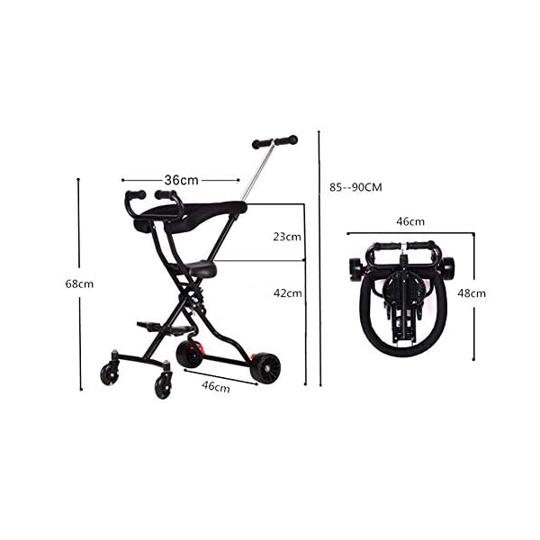 Baby Artifact Children's Trolley Baby Lightweight Folding High Landscape Anti-Rollover Door Slip Baby Stroller,Pink  1. Foldable design, easy to put into the trunk, making the journey easier. 2. The track is widened, the four-wheel area is occupied, the grip is stronger, the center of gravity is more reasonable and more stable. 3. 360° freely rotates the front wheel and rear wheel brakes. 2