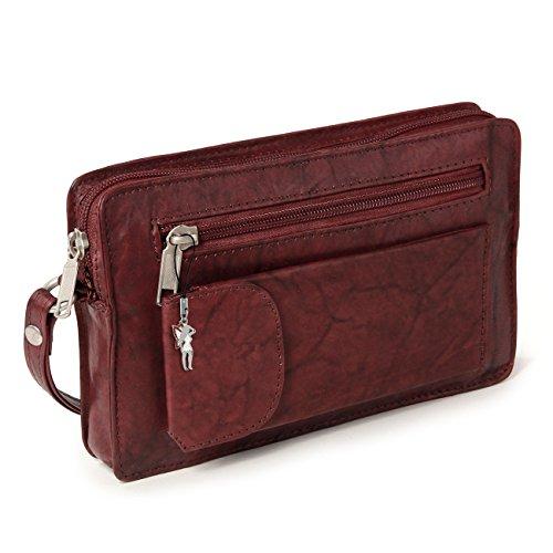 Herrentasche Handgelenktasche für den Mann Flugbegleiter braun echtes Leder braun