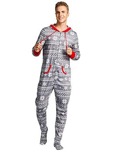 Zexxxy Einteiliger Unisex-Schlafoverall mit Füßlingen für Erwachsene mit Weihnachtsbedruckung im nordischen Stil Pyjama Grau L