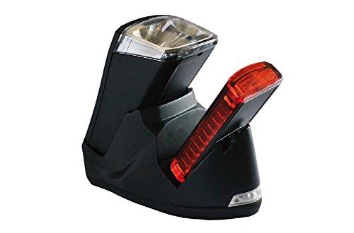 Büchel Batterieleuchtenset LED-AKKU Set-Leuchtturm Pro 40 Lux StVZO Zugelassen für alle Räder, Silber/Schwarz, 51125700