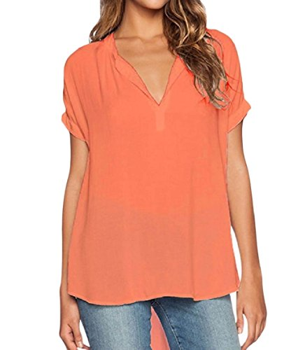 CuteRose Women Plus-Size Loose Pure Color Light Weight Fashion T-Shirts 3XL Orange