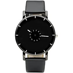 JSDDE Uhren,Modische Ziffer Radscheibe Armbanduhr Schwarz PU Lederband Analog Quarz Uhr Unisex Armbanduhr