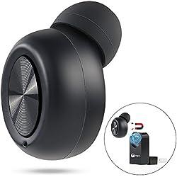 TTMOW Mini Auricular Bluetooth Inalámbrico con USB magnético y Micrófono, Cancelación del Ruido, 8 horas de tiempo de conversación Compatible para móviles Android y iPhone - negro