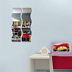 Idea Regalo - Dragon868 Nuovo 6pcs DIY Rimovibile Casa Camera Parete Specchio Adesivo Arte Vinile Murale Decor Decalcomania (Argento)