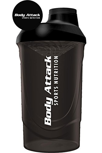 Body Attack Protein Shaker, 600 ml Fassungsvermögen (Black)