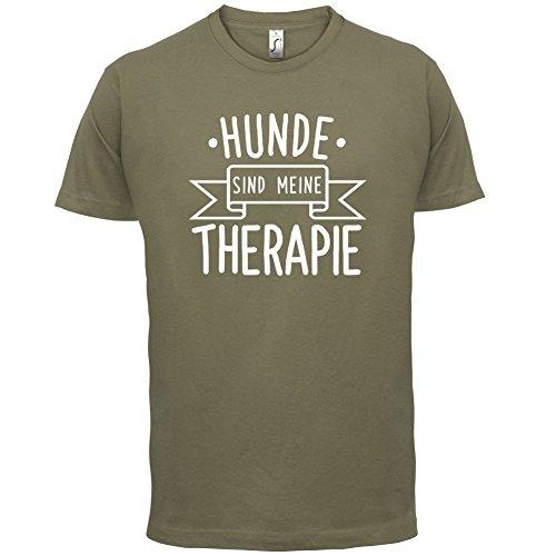 Hunde sind meine Therapie - Herren T-Shirt - 13 Farben Khaki