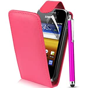 Supergets®Samsung Galaxy Y S5360 Hot Pink Top Flip Pu Leather Case, Screen Protector , Touch Screen Stylus And Polishing Cloth