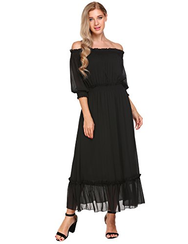 Meaneor Damen Chiffon Kleid Elegant Festlich Abendkleid Kurzarm Schulterfrei Maxikleid Partykleid...