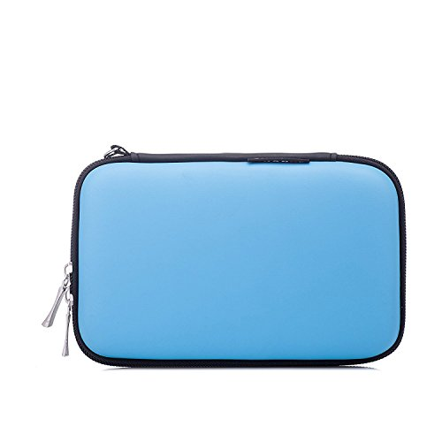 MystiTL Zubehör 2.5 Zoll Tragbare Reisetasche für Electronisches Zubehöre Organizer Case Tasche Tragetasche Wasserdicht für USB Drive Shuttel Festplatte, Blau (Direct-drive-verschluss)