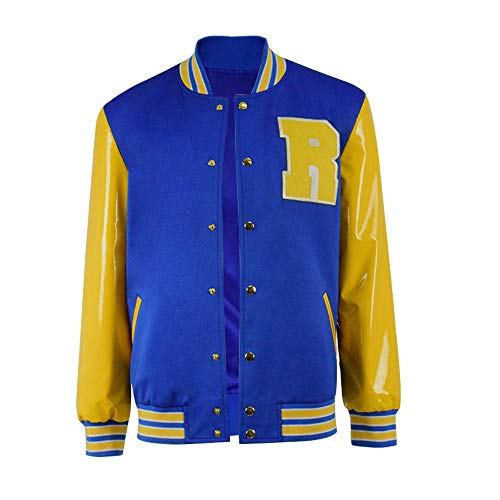 Kostüm Andrews Archie - Zhangjianwangluokeji R 3 Letterman Varsity Archie Andrews Gelbe und Blaue Lederjacke Cosplay Kostüm (XXL, Farbe 1)