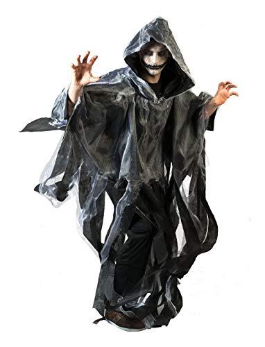 n Männer Kostüm Hochwertiger Gespenster-Umhang mit Kapuze Geist Ghoul mit Fransen, perfekt für Halloween Karneval und Fasching, One Size, Grau ()