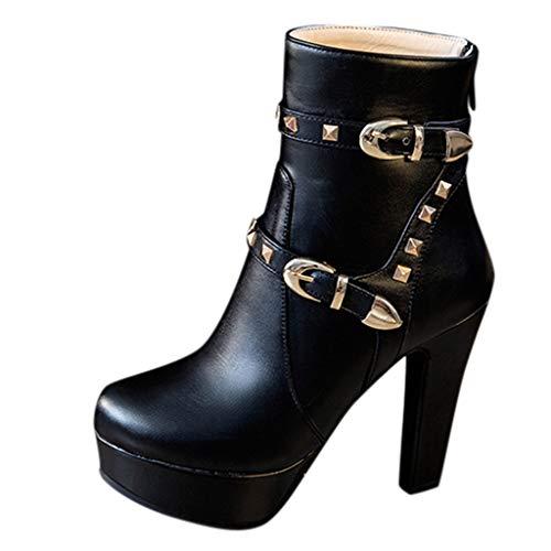 NMERWT High Heels Plateau Pump Schuhe Damen Mary Jane mit Hohem Blockabsatz Runde Zehenpartie Damen Stiefel mit rundem Kopf und dickem Absatz wasserdichte Plateaustiefel mit hohem Absatz