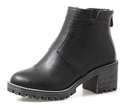 Low Bottines Chunky Talon Plateforme Boots Mode Noir Aisun Femme qHfaxwH6R