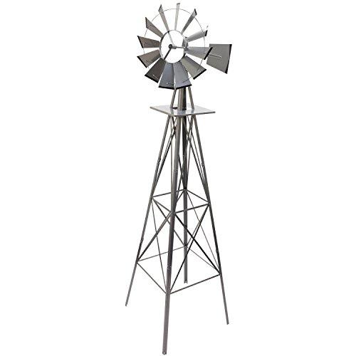 Maxstore Gigantisches Windrad im US-Style aus Stahl, Höhe 245cm, Rotor 55cm, kugelgelagert, Farben silber, rot, grün