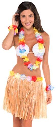 Confettery - Damen Hawaii-Kostüm, Hawaiianerin, Fasching, Karneval , One Size, (Mann Tiki Kostüm Halloween)