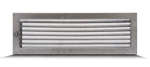 17x50cm Rejilla de lamas Aire rejilla ventilación Chimenea regulable - acero inoxidable - NEGRO Y