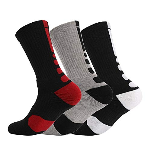 Leicht zu transportierendes Sportzubehör Männer Sportsocken 3er Pack Basketball Fußball Lange athletische Socken mit gepolsterter Leistung für das Laufen, Wandern, Trekking Für jeden geeignet -