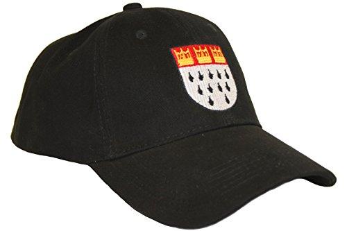 Köln-Cap / Baseball-Cap in schwarz | Größe verstellbar | Basecap mit Kölnwappen für Faschingskostüm Kostüm Zubehör (Köln Karneval Kostüme)