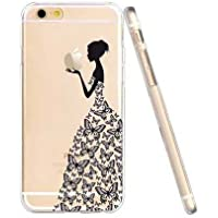 Cover iPhone 5 5S, Custodia iPhone SE, UCMDA Silicone Trasparente Morbida Clear Gel Caso, Ultra Slim Antiurto Anti-Graffio Bumper Case con Disegni
