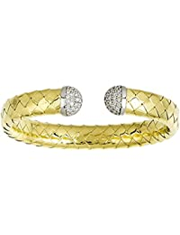 18ct Yellow Gold High Polish Woven Cuff Bracelet .69 Dwt Diamond