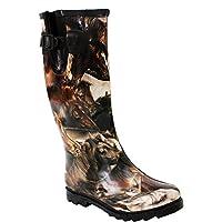 Ladies Womens New Adjustable Calf Waterproof Rubber Festival Rain Mud Snow Girls Wellington Boots Wellies - Sizes UK 3-8 (UK 5, Horses)