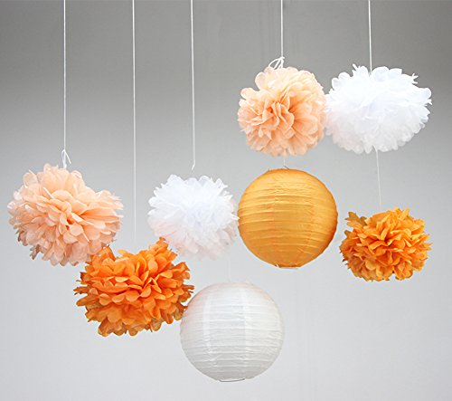 SUNBEAUTY Orange Papier Deko Set 8er Set Peach Pom Poms Lampion Dekoration (Poms Pom Orange)