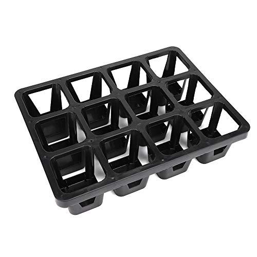 12 griglia portavaso in plastica vassoi in plastica succulenti porta piante da vivaio piantine vassoi di avviamento per piantine inserti per vassoio da giardino in plastica nera
