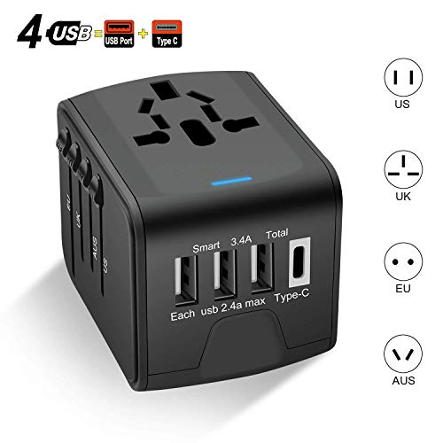 Carantee Universal Reiseadapter, 3-Port USB mit Type-C Intelligenter Identifikationschip, World Travel Adapter in Einem Ladegerät für 170 Ländern weltweit US, UK, EU, AU, Asien und mehr(Schwarz)