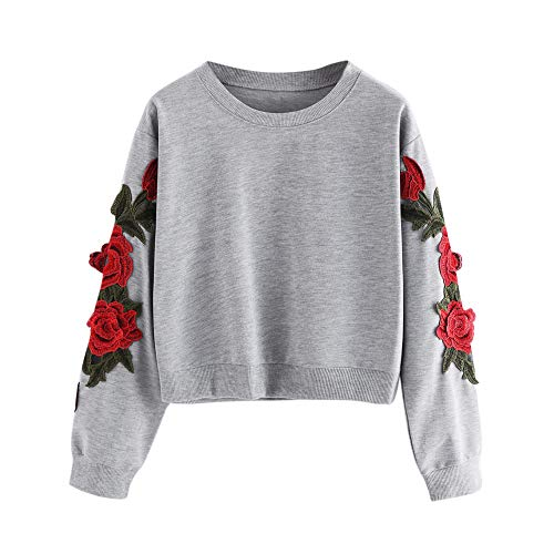 Jaminy Damen Crew Langarm Sweatshirt Damen Sweatshirt mit Rose Applikation Herbst Winter Shirt Pullover S-XL (Grau, S)