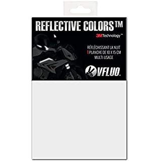 VFLUO 3M REFLECTIVE COLORS™, Universal adhesive DIY kit for Helmet/Motorbike / Scooter/Bike, 3M Technology™, 10 x 15 cm sheet, White/Silver