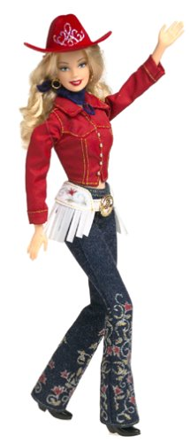 Barbie poupée blonde WESTERN CHIC 2001 bottes jeans veste et chapeaux rouges