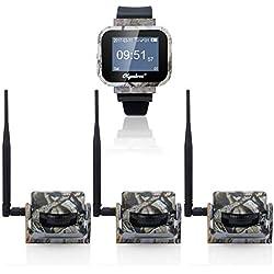 Olymbros Inalámbrico Sistema Alarma Caza 360 ° 200M Alarma Seguridad con 3 Detectores Medio Trigger Sonido Vibración Seguimiento Recordatorio Para Animale Sensor Movimiento Alarma IP54