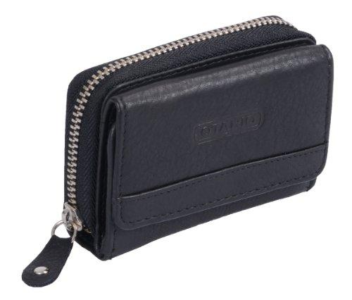 Mini-portafoglio OTARIO, Vera Pelle, nero 9x6,5cm