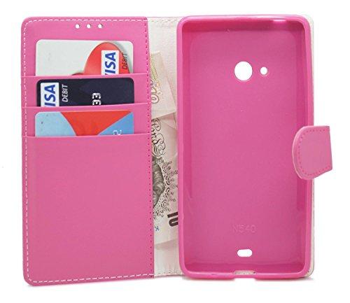Gadget Giant® Microsoft Lumia 540 Dual SIM PU Leder etui Buch-Stil Handy Hülle mit Displayschutz-Folie & Eingabestift - Pink Farbe
