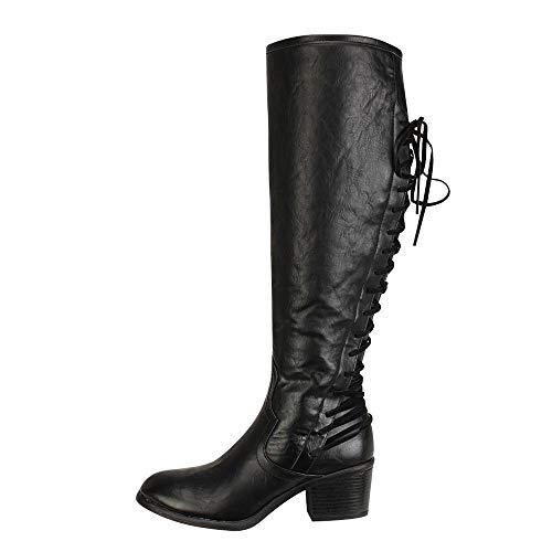e Damenmode Leder Schnürschuhe High Heels Stiefel Winter Sexy Knie Stiefel Autumn Winter Boots Süße Stiefel Stilvolle Flache Flock Schuhe ()