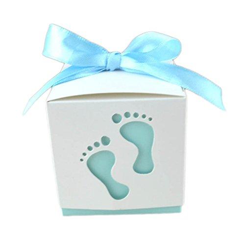 Monbedos 50Candy Box mit Spitzenband Niedliche Baby Fußabdruck Geschenk Papier Box Keks Kiste Deko behandelt Boxen für Kinder Geburtstag Baby Dusche Gäste Hochzeit Party Supplies, Blau, 6*6*6cm