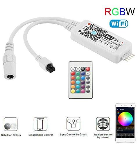 Wlan RGBWW Led Streifen Controller,Wifi/App gesteuert Arbeiten mit Android/IOS 5V-28V 16 Millionen Farben,20 Dynamische Modi,Sound Aktiviert, Statische Farbwechsel,24 Tasten Fernbedienung