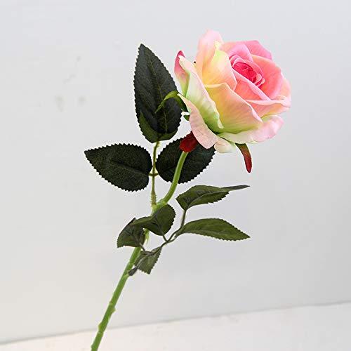 Jun7L Rosen 10 Stück Real Touch Schöne Echtes Moisturizing Curling Knospe Latex künstliche Rose Kunstblumen Blume Dekoration Blumenstrauß Blumenarrangement- Champagner 52x10cm
