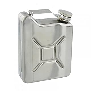 Harvey Makin Petrol Can Style 6oz Hip Flask In A Mirror Polished Stainless Steel Finish - An Ideal Gift For The Motoring Enthusiast (HM1153)