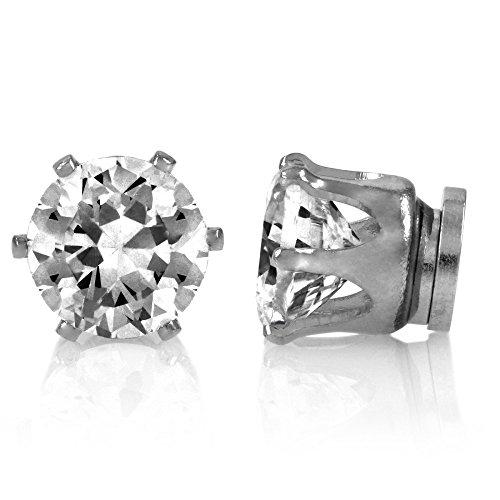 Magnet-Ohrringe Zirkonia Rund 9 mm Fashion Ohrringe Schmuck
