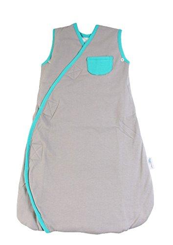 Schlummersack Baby Fußsack Elefanten grau/türkis Unisex 2.5 Tog für den ganzjährigen Gebrauch, Größe 0-6 Monate 70 cm