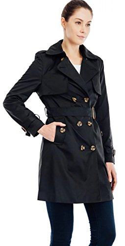 Valuker Cappotto doppio petto trench - Donna Nero IT:46(Tag M)