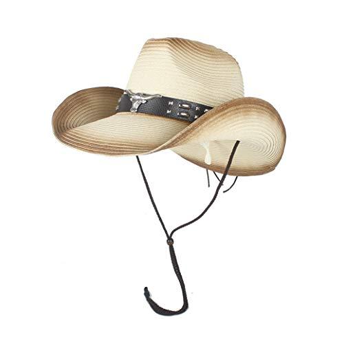 RONGLINGXING 2019 Mode Sommer Western Cowboyhut Herren Stroh Cowgirl Party Kostüm Crimp Hut breiter Krempe Sonnencreme Strand Sonnenhut (Farbe : Beige, Größe : 56-58)